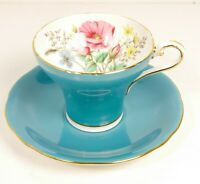 Vtg MCM AYNSLEY Electric Blue Hand Painted Flowers Inside Corset Cup & Saucer