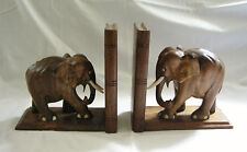 Vtg. Pair of Hand Carved Teak ELEPHANT Bookends w/Bone Inlaid Tusks/Nails/Eyes