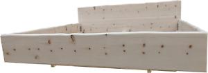 Zirbenbett, Schwebend mit Baumkante, Doppelbett, Massivholzbett, Zirbenholz