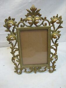 Cast Iron Brass Art Nouveau Ornate Stand Up Picture Frame Photo Glo-Mar