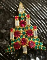 Vintage Mid Century Beautiful Glass Rhinestone Christmas Tree Brooch Prong Set