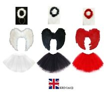 ANGEL TUTU COSTUME Feather Girls Christmas Fancy Dress Nativity Outfit Party UK