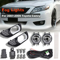 Clear Bumper Lamps Fog Lights+Switch+Bezels For 2007-2009 Toyota Camry Upgrade