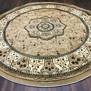 STUNNIG 150X150CM CIRCLE RUGS WOVEN BACK HAND CARVED BEIGE NEW RANGE RUGS/MATS