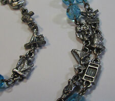"† UNIQUE VINTAGE HTF TEACHING MYSTERIES LINKS & BLUE GLASS ROSARY 36"" NECKLACE †"