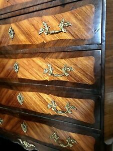 Antique French Chest of Drawers Ormolu, Two-tone details, Marble Top, Key Lock