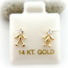 14K Solid Yellow Gold Stick People Boy and Girl Screw Back Children Earrings