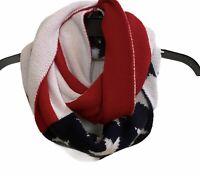 American Flag Winter Infinity Loop Knit Scarf By Angela & William