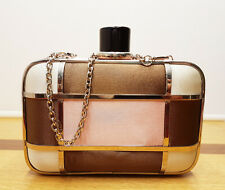 Chocolate And Pale Pink Mosaic Small Clamshell Evening Phone Clutch Handbag
