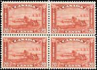 1930 Mint H/NH Canada F-VF Block Scott #175 20c King George V Arch/Leaf Stamps
