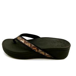 Vionic Womens Pacific High Tide Flip Flop Sandals Black Chevron Wedge 6W NEW