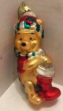 Disney Santa's Best Glass Winnie The Pooh Christmas Ornament