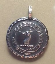 """Sterling Silver Pendant, Dog, Faithful To The End, Greyhound Whippet, 1.25"""" Bram"""