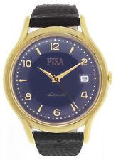 PISA Mens 18K GP Blue Dial Black Genuine Lizard Strap Band Automatic Watch