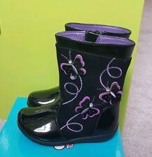 BNIB girls black patent boots purple butterflies size 6 infant RRP £20