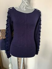 Lillie Rubin Navy sweater embroidered arms 92% silk Size S 8 / 10 Damaged