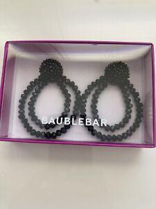 NIB BAUBLE BAR black crystal double hoop earrings