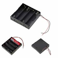 New Plastic Battery Storage Case Box Holder 4 x 18650 3.7V With Wire Leads Black