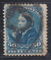 """Canada Scott #47  50 cent deep blue """"Small Queen""""  F"""