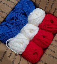 Lot D: 1 1/3 Pound Yarn Skeins 3 Red 3 White 3 Blue 100% Acrylic #4 med worsted