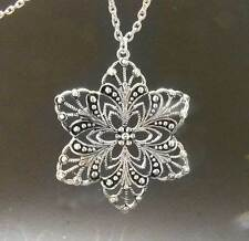 LGL- STAR FLOWER OF LIFE Disc Silver Pendant - Nc1943- Fashion -Wish- Inspire