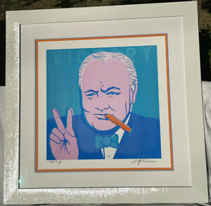 Rare VICTORY NIAGARA SIGNED ARTIST PROOF Winston Churchill Print Only NO Frame