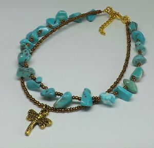 Turquoise Howlite Chip Beads Bohemian Double Strand Dragonfly Charm Beach Anklet