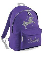 Personalised Kids Backpack -Name Silver Glitter Unicorn & Stars Girls School Bag