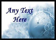 Blue Lace Bauble Christmas Personalised Dinner Table Placemat
