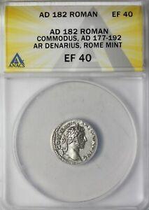 Commodus 182 AD AR Silver Denarius Ancient Roman Coin ANACS EF40