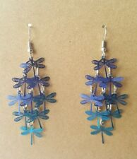 Colourful Boho Style 7.4cm Chandelier Earrings with Blue Tone Dragonflies