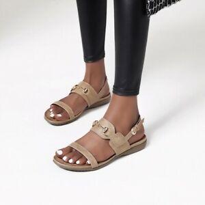 Womens Slingback Sandals Buckle Strap Open Toe Flat Heels Casual Beach Roma Shoe