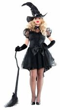 Women's Halloween Costumes Cobweb Witch Dress With Hat, Black, Small NEW