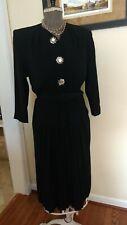 Vintage 1940's Stylish Black Crepe Cocktail Dress ,Size Small