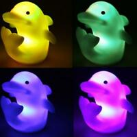 1pcs Cute Dolphin Rose Shape Night LED Light Lamp Color Changing Gifts Toys Fun
