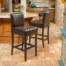 Set of 2 Contemporary Brown Leather Barstools