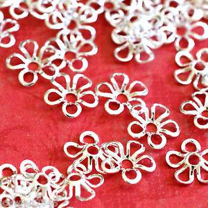 24pcs Silver Petite lilies Filigree Bead Caps KK-B418