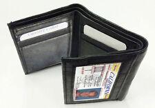 Black LAMBSKIN LEATHER BLACK ID MEN's WINDOW Card PLAIN TRIFOLD WALLET 10 Slots