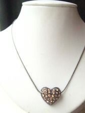 dark silver pewter Pink Sparkling Rhinestone Love Heart Charm Pendant Necklace