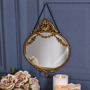 Gold Ornate Floral Wall Hanging Mirror Glass Metal Shabby Vintage Chic French