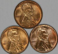 1945 P / D / S   LINCOLN WHEAT CENT PENNY GEM BU BRILLIANT RED LOT OF 3 COINS