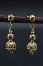14k solid Yellow Gold 12mm Crystal Pave Ball Drop Earrings #be230