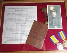 Wwi Canadian Army Memorial Collection, Discharge paper, Pay book, Picture, Medal