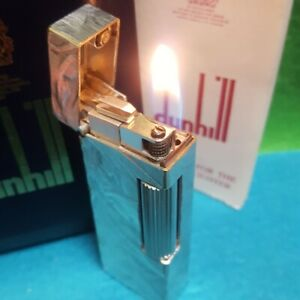 Dunhill Rollagas gas Lighter Silver foil pattern full overhauled with box