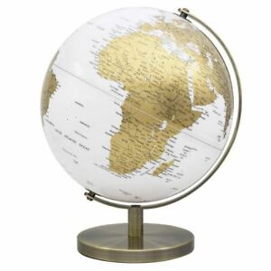 CONTEMPORARY GOLD AND WHITE LARGE GLOBE METAL BASE ATLAS TABLE DESK ORNAMENT