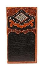 Nocona Western Wallet Mens Rodeo Leather Diamond Concho Brown Black N5466467
