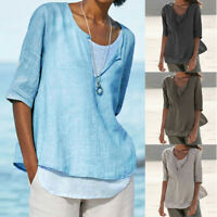 Plus Size Womens Button Linen Cotton Tops Ladies V Neck Loose Blouses T-Shirt UK
