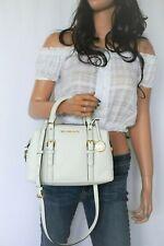 Michael Kors Ginger Small Duffle Satchel Pebbled Leather Bag Optic White