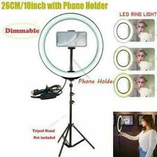 10'' LED Ring Light Lamp For Selfie Camera Phone Studio Photo Video Dimmable.