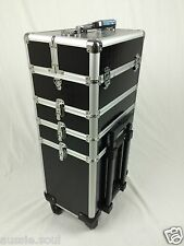 4 in 1 Portable Makeup Cosmetic Beauty Trolley Case, Hairdresser,nail-black croc